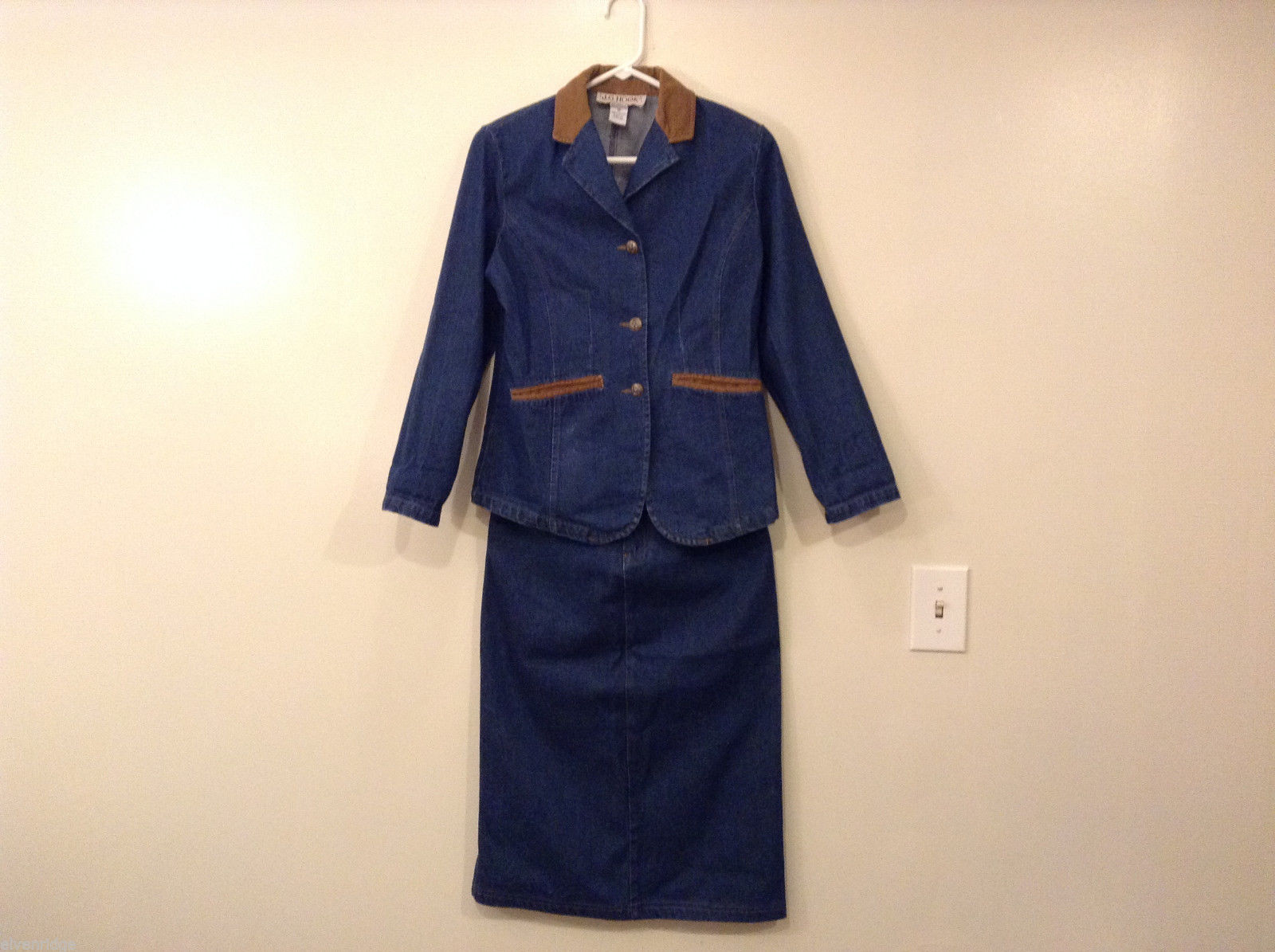 J.G. Hook Women's Size 2P Jacket & Skirt Set Retro 70s Style Jean Denim Corduroy