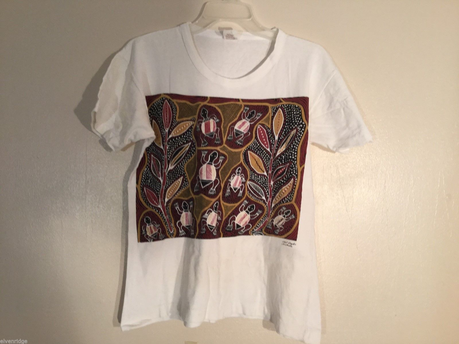 Unisex Noel Doyle Kalka Print T-Shirt Made in Australia, size Medium