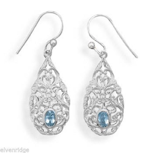 Pear Shape Blue Topaz Drop Earrings Sterling Silver