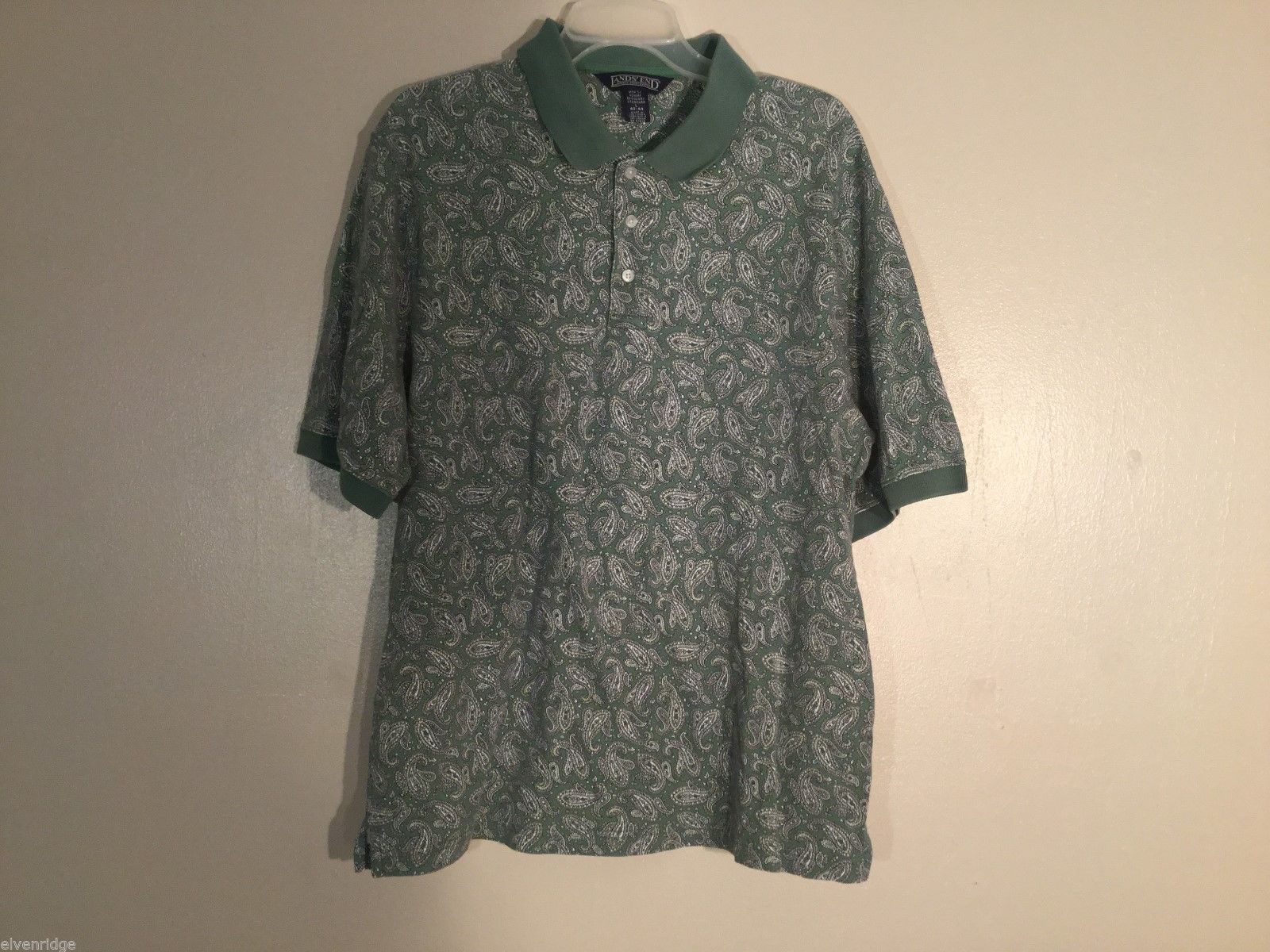 Mens Lands' End Green Paisley Polo Shirt,Size Large (42-44)