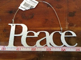 Peace White Glittered Ornament Primitives by Kathy Wire for Hanging image 1