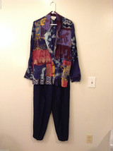 The Icing Women's Size M Coordinate Set w/ Blazer & Pants Abstract Print Navy