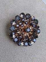 Vintage 1960's Flower Burst Smokey Black Crystal Rhinestone Fashion Brooch  - $45.00