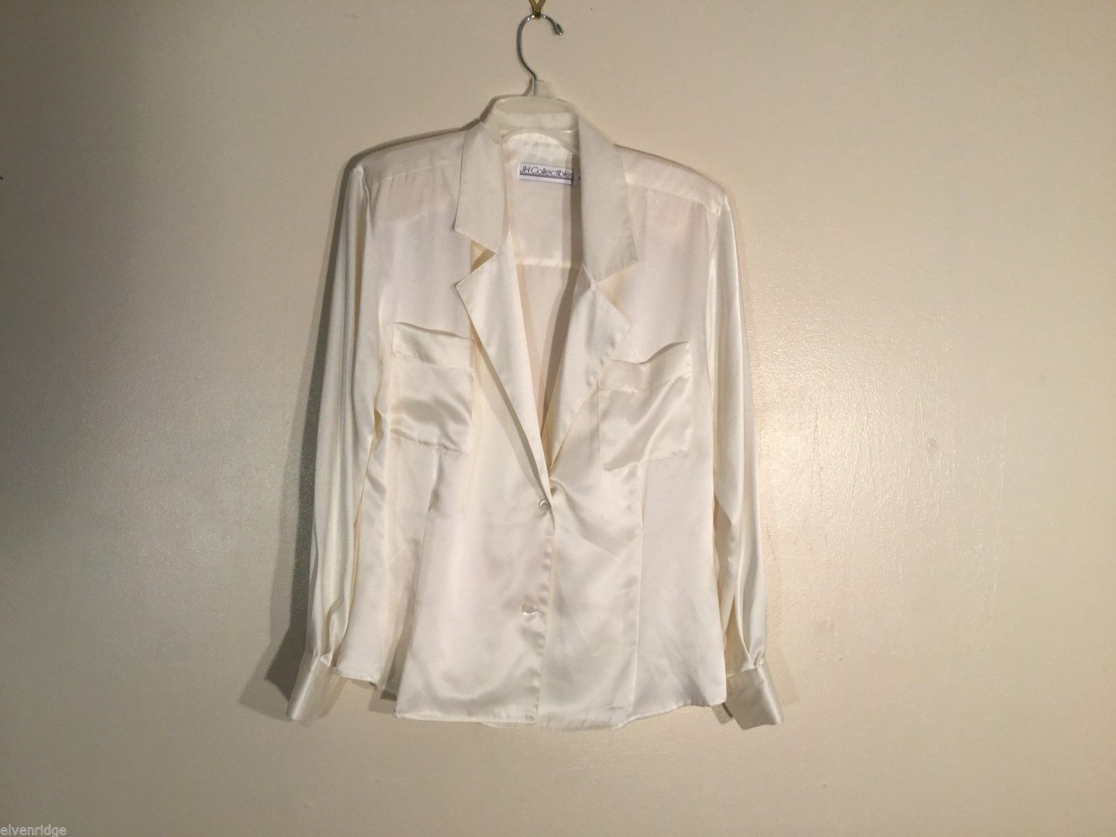 Womens JH Collectibles White Silky Blouse, Size 12