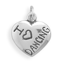 Sterling Silver I Love Dancing Heart Charm - $22.95