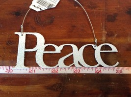 Peace White Glittered Ornament Primitives by Kathy Wire for Hanging image 2