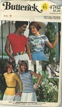 1970s Vintage Pattern - Misses T-shirts Butterick 4762 - 70s T-Shirt Unc... - $5.50