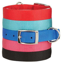 Zack and Zoey Double Layer Nylon Dog Collar Buckle Red Blue Black Pink Durable - $8.50