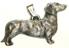 Dachshund Smooth Coat Pendant Dog Harris Fine Pewter Made in USA jewelry - $10.99