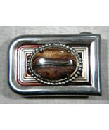 Vintage Unisex Genuine Tiger Eye Cabochron Inset Brass Belt Buckle by ST... - $27.99