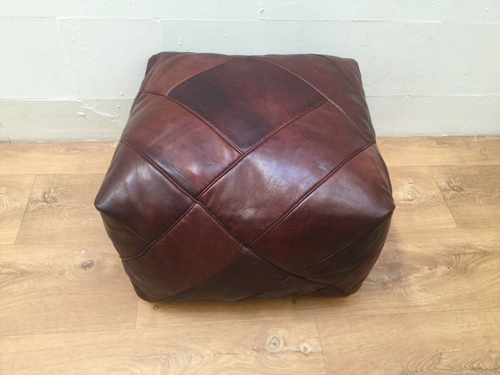 genuine leather moroccan pouf ottoman whiskey brown. Black Bedroom Furniture Sets. Home Design Ideas