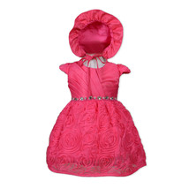 New Baby Christening Party Dress with Bonnet Hot Pink Ivory 0 3 6 12 18 ... - $30.32
