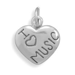 Sterling Silver I Love Dogs Heart Charm