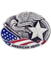 Bronze Star American Hero Cast Belt Buckle - $14.99