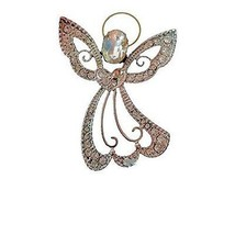 Rhinestone Angel Brooch Pin Flowing Dress Large  Jewelry - $9.89