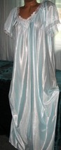 Baby Blue White Embroidery Nylon Long Nightgown 1X 2X 3X Womens Semi Sheer - $22.50