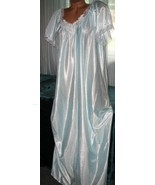 Baby Blue White Embroidery Nylon Long Nightgown 1X 3X Womens Semi Sheer - $22.50