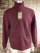 Bass Maroon Sweatshirt Med New Partial Buttoned Long Sleeves Fleece Collar - $24.74
