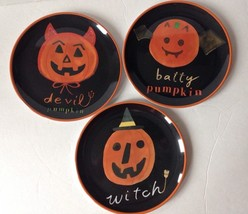 "POTTERY BARN KIDS 3 Halloween Melamine Plates 8"" Jack O Lantern Pumpkins - £20.27 GBP"