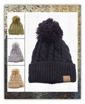 CC Cable Knit Pom Pom Beanie Cap Hat SALE - $11.50 CAD