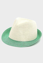 Women's Green & Ivory Two Tone Fedora Hat USA SELLER - ₨1,059.63 INR