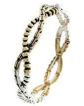 Silver & Gold Two-Tone Intertwined Stretch Bracelet USA SELLER - ₨746.33 INR