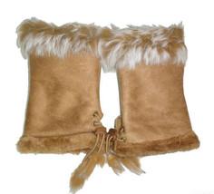 JTC Women's Tan Rabbit Fur / Suede Half Gloves Arm Warmers Hand Warmers - $171,82 MXN
