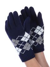 Women's Winter Navy Fleece Layered  Knitted Argyle Pattern Gloves USA - $283,01 MXN