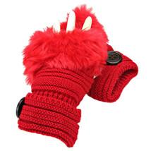 Red Button Embellished Fur Trim Fingerless Knit Gloves Arm Warmers - $159,32 MXN