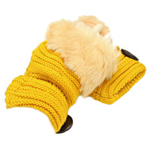 Yellow Button Embellished Fur Trim Fingerless Knit Gloves Arm Warmers - $171,82 MXN