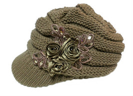 Khaki Crochet Newsboy Knit Sequin Satin Flower Visor Cap Hat USA SELLER - $20.68 CAD