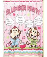Girl Monkey's  Slumber Party Shower Curtain  70 X 72  Sam Hedaya New - $16.00