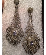 Hand Made Vintage Diamond Tanzanite Peacock Feather Chandelier Earrings  - $1,291.00