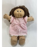 Vtg 1985 Coleco Cabbage Patch Kids Girl Doll Brown Hair w/Dress Outfit #... - $17.81