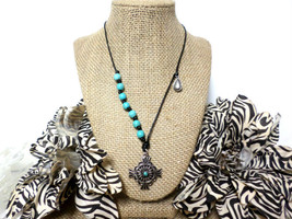 Boho Silver and Turquoise Beaded Silver Charm Tribal Pendant Black Leath... - $8.50