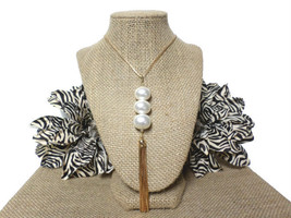 Gold 3 Large Freshwater Ivory Pearl Long Tassel Pendant Layering Necklac... - $16.00