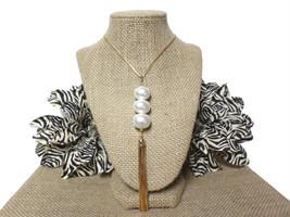 Gold 3 Large Freshwater Ivory Pearl Long Tassel Pendant Layering Necklac... - $303,37 MXN