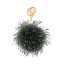 Grey & Gold REAL Raccoon Fur Pom Pom Key Chain ... - $10.50