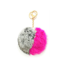 Grey, Pink & Gold Two Tone Rabbit Fur Pom Pom K... - $10.50
