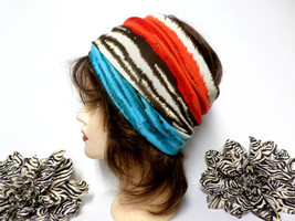 Brown, Teal, Orange & Ivory Headwrap, Yoga Headband, Wide Headband, Runn... - $171,82 MXN