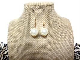 15mm Large Ivory Pearl Bead Gold Hook Drop Dangle Earrings, gift - $8.50
