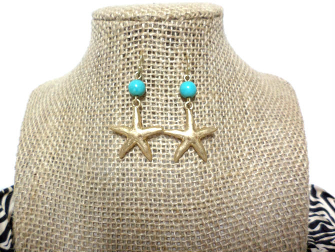 Gold Starfish Turquoise Stone Bead Hook Drop Dangle Earrings, gift
