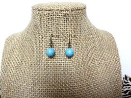Turquoise Bead Antique Gold Hook Drop Dangle Earrings, gift - $8.50