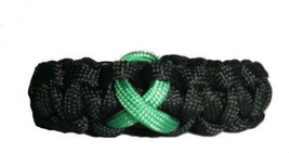 Liver Cancer Jade Green Awareness Ribbon Paracord Bracelet, gift - $8.50
