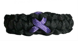 Crohn's Disease Purple Awareness Ribbon Paracord Bracelet, gift - $8.50