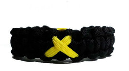 Bone Cancer Yellow Awareness Ribbon Paracord Bracelet, gift - $8.50