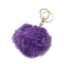 Purple & Gold Rabbit Fur Pom Pom Key Chain / Ba... - $10.50