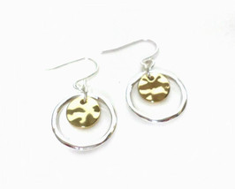 Silver and Gold Round Circle Disc Hook Drop Dangle Small Hoop Earrings, ... - $8.50