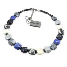 NECKLACE ANTICA MURRINA VENEZIA WITH MURANO GLASS BLUE SILVER BLACK CO98... - $75.10