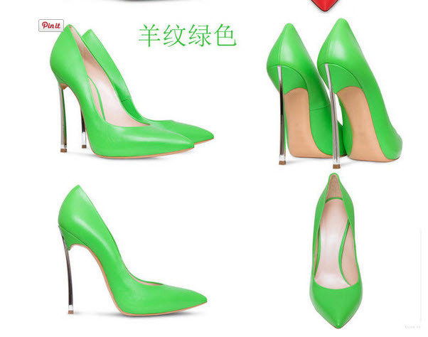 Primary image for pp010 Extra size European style stiletto pumps, candy color, US size 3-10, green